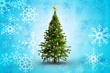 Composite image of christmas tree on white background