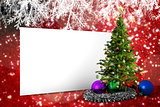 Composite image of poster with christmas tree