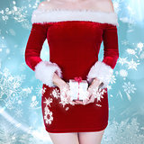 Composite image of mid section of sexy santa girl