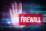 Firewall against blue technology design with binary code