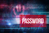 Password against blue technology design with binary code