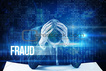 Fraud against blue technology interface with binary code