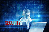 Security against blue technology interface with binary code