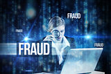 Fraud against lines of blue blurred letters falling