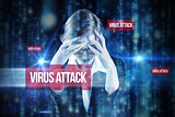 Virus attack against lines of blue blurred letters falling