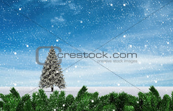Composite image of snow falling