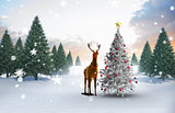 Composite image of christmas tree and reindeer