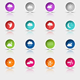 Colored set round web buttons weather