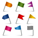 Set colored flag pins web elements