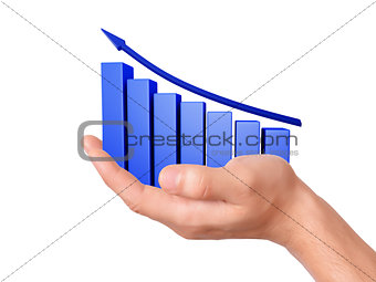 Business  Graph in the hand on white background