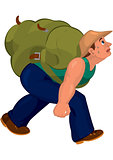 Cartoon man in blue pants with heavy backpack