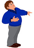 Cartoon man in blue sweater with finger