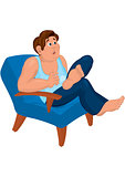 Cartoon man in blue top sitting in armchair with open mouth