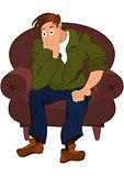 Cartoon man in green jacket sitting in armchair