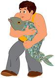 Cartoon man in orange sleeveless top with big fish