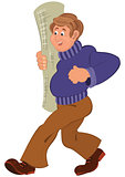 Cartoon man in purple sweater walking smiling with carpet roll