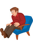 Cartoon man in red top and brown pants sitting in armchair