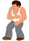 Cartoon man in white sleeveless top walking