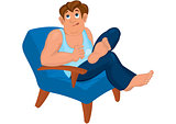Cartoon man sitting in armchair dreaming