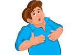 Cartoon man torso in blue touching stomach