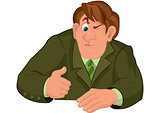 Cartoon man torso in green jacket with one eye closed
