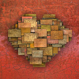 3d fragmented love heart shape square tile grunge pattern