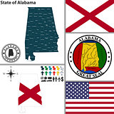 Map of state Alabama, USA