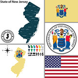 Map of state New Jersey, USA