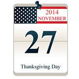 Calendar for Thanksgiving Day