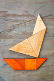 abstract yacht from tangram puzzle
