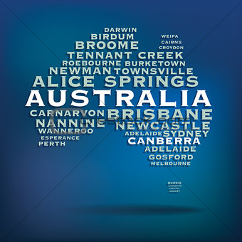 Australia map made with name of cities