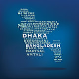 Bangladesh map made with name of cities