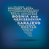 Bosnia and Herczegovina map made with name of cities