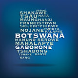 Botswana map made with name of cities