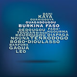 Burkina Faso map made with name of cities