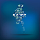 Burma map made with name of cities