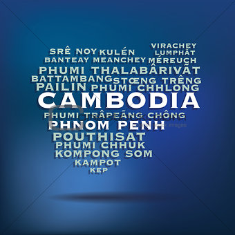 Cambodia map made with name of cities