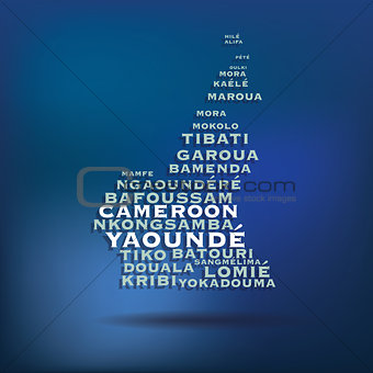 Cameroon map made with name of cities