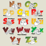 Fruits and vegetables alphabet from N to Z
