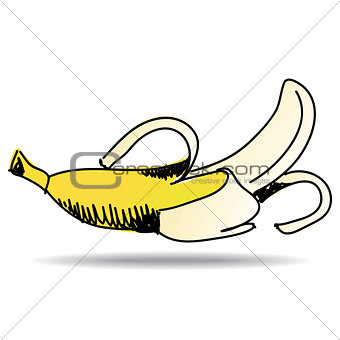 Freehand drawing banana icon