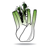 Freehand drawing fennel icon