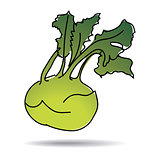 Freehand drawing kohlrabi icon