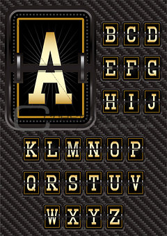 alphabet in retro style on carbon background