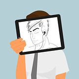 Guy holds tablet pc displaying hand drawing.