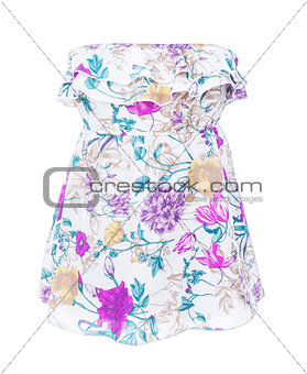 Beautiful  dress with frills on white background