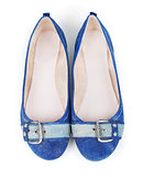 blue denim shoes on isolated white background
