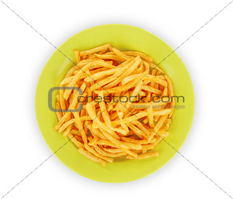 French fries on white
