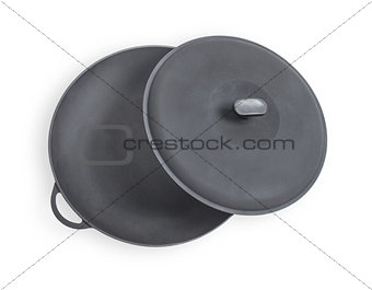 Black saucepan isolated on a white background.