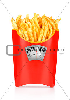 French fries. isolated on white background, diet concept