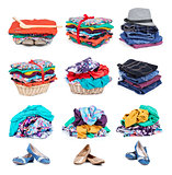 Collection Big heap of colorful clothes, isolated on white background.